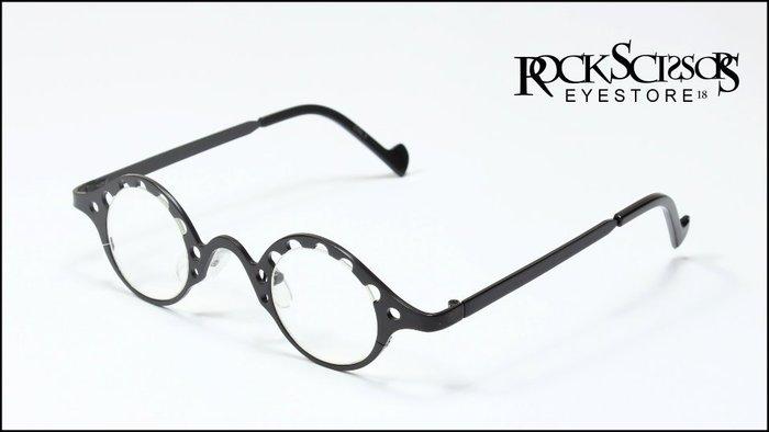 Rock scissors-[韓國製]歐美英倫街頭復古60s 簍空造型 全金屬小橢圓框 黑框平光眼鏡