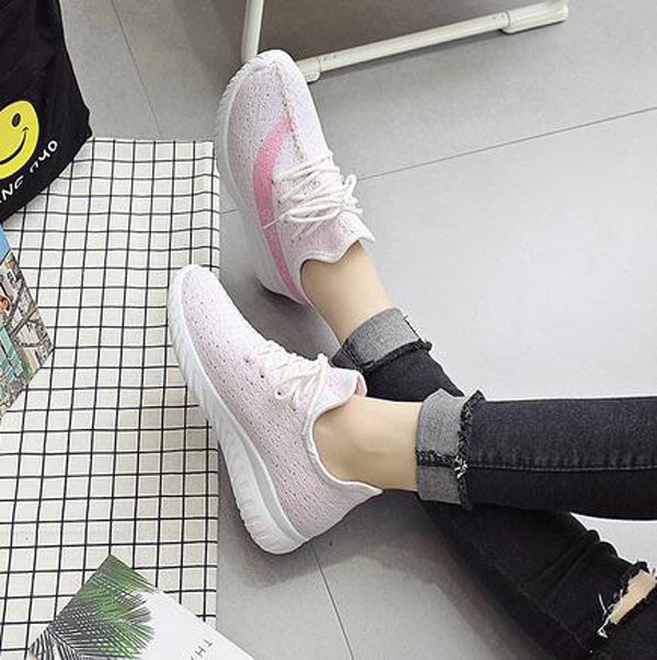 【三雙免運費】韓版百搭椰子休閒3D針織透氣運動鞋/3色