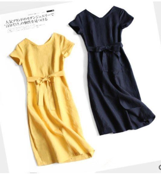 日本單~天然舒適專櫃高品質繫帶 棉麻連衣裙 1103 米蘭風情