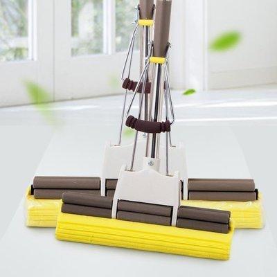 ZIHOPE 膠棉拖把家用免手洗海綿地拖大號不銹鋼滾輪式拖布吸水海棉拖把頭ZI812