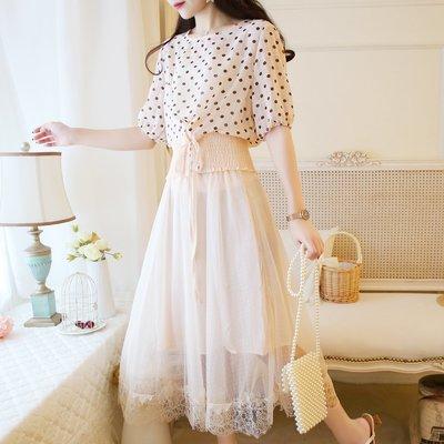 民俗風女裝 春夏很仙的裙子過膝波點雪紡連衣裙很仙的法國小眾兩件套長裙子