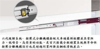 火車頭 三節式 緩衝滑軌 自動回歸 抽屜式滑軌 彈壓式滑軌 25~70公分