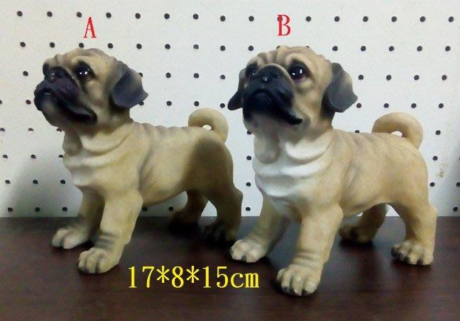 【浪漫349】獨件貨樣品  A 或 B 單個價 站姿巴哥犬  狗雕塑模型 波麗材質
