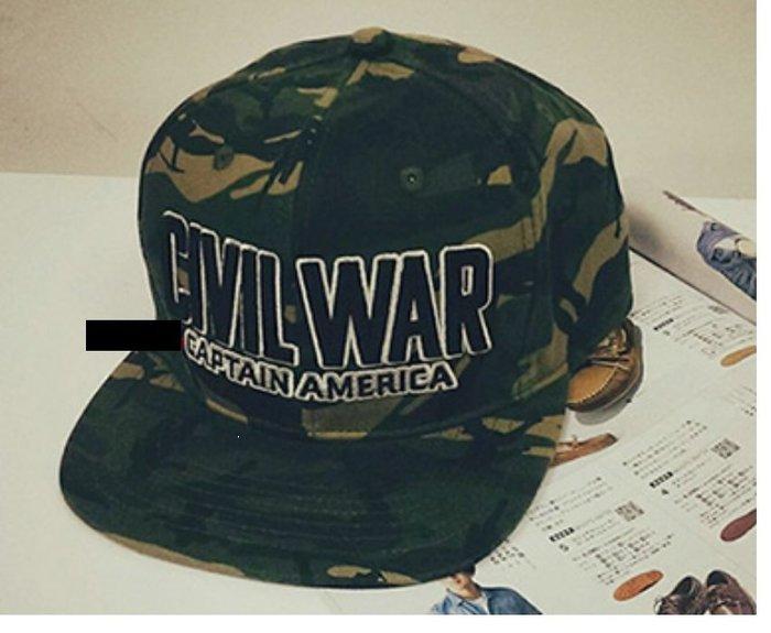 美國隊長3: 英雄內戰 Marvel內戰款 迷彩 潮帽 CIVIL WAR CAPTAIN AMERICA