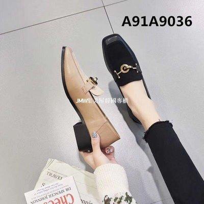 JMW集美屋韓國專櫃2019春季新款方跟低跟小方頭牛反絨女單鞋懶人鞋官方網正品