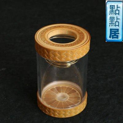 【點點居】手工雕刻新款玻璃玉竹蓋子和底部螺紋孔蟲具器具蟈蟈罐養蟲罐文玩蟲玩竹製品DD01546