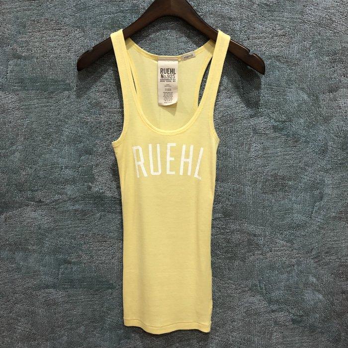 Maple麋鹿小舖 Abercrombie&Fitch *RUEHL No.925 黃色印花字母背心 * (現貨XS號)