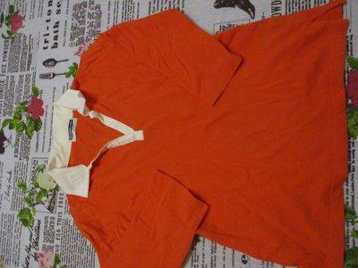 二手童裝出清--橘色V領七分袖上衣--GIORDANO--S號