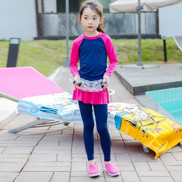 兒童 泳衣 正韓兒童長袖分體泳衣女速干長褲沖浪服小中大童女孩兒童女童防曬泳衣