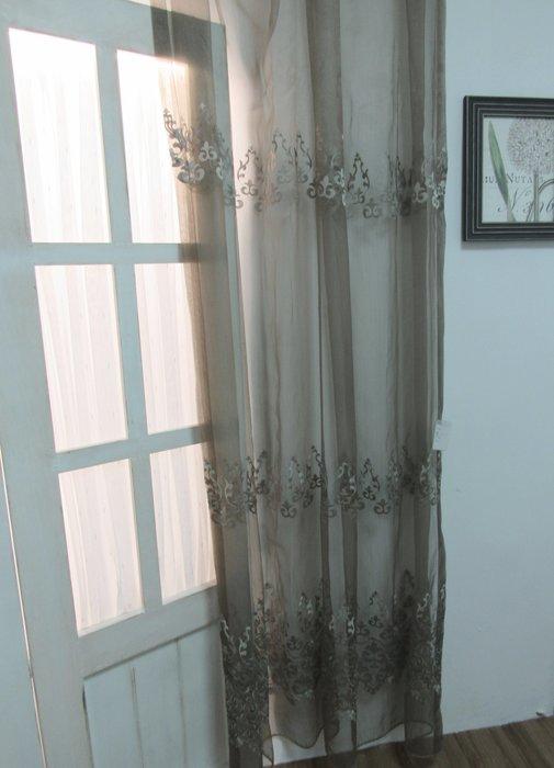 [W078]窗簾 窗紗  No.439燭花刺繡紗-青銅  特價出清  無接縫紗 典雅 復古