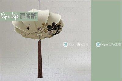 KIPO-中國風-手繪棉亞麻中式吊燈/純手繪牡丹圖案/預定款NDC010001A
