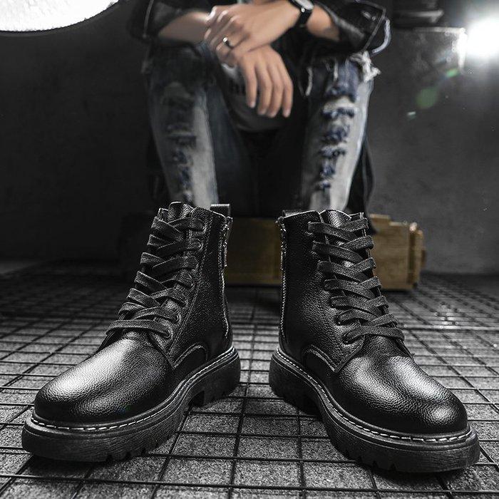 6Du spot~潮牌2020男士英倫工裝馬丁靴百搭防水工作皮靴時尚潮流防滑高幫鞋
