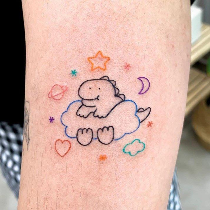 【萌古屋】】雲朵上的恐龍 - 防水紋身貼紙刺青貼紙 HC-3022