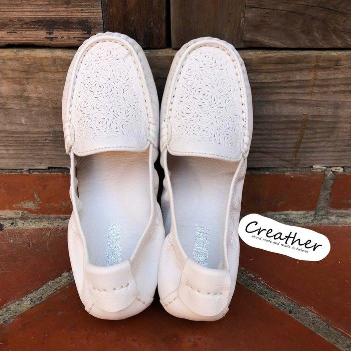 純白花紋氣墊娃娃鞋【Creather瘋皮閣】