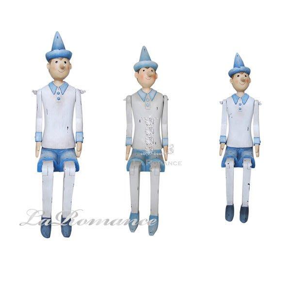 【芮洛蔓 La Romance】德國 Heidi 童趣家飾 - 粉藍坐姿小木偶 (共三尺寸) / 人物擺飾 / 小孩房