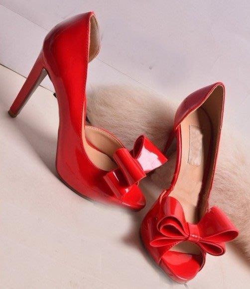 魚嘴高跟鞋 西西莉亞純手工訂製鞋甜美羊漆皮蝴蝶結  大碼小碼訂做30-43 貨號:60891
