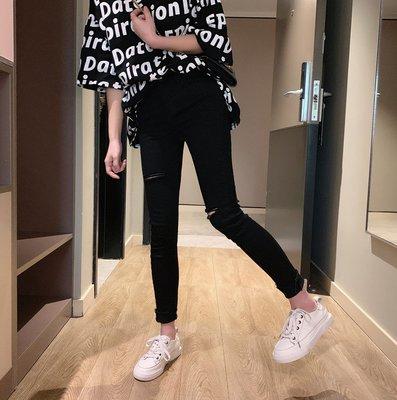 破洞牛仔褲女2019春季新款韓版高腰黑色修身顯瘦鉛筆褲磨破小腳褲