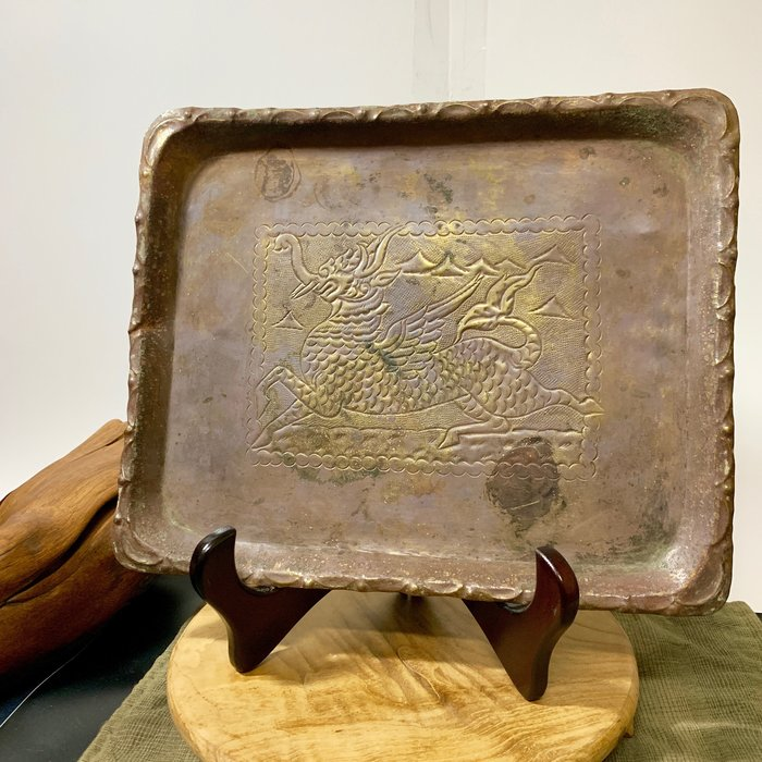 緬甸古董老件 神獸 守護神 緬獅清提 手工老銅盤 銅器 純銅