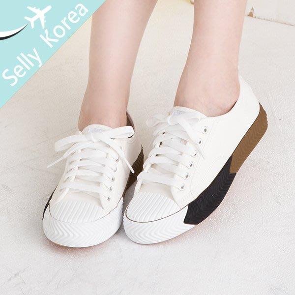 正韓 帆布鞋 休閒鞋 餅乾鞋 綁帶-Selly-沙粒-(KR225)2色