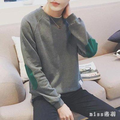 秋季男士長袖T恤韓版潮流寬松圓領體恤小衫簡約學生打底衫上衣服 Mt7620【miss洛羽】