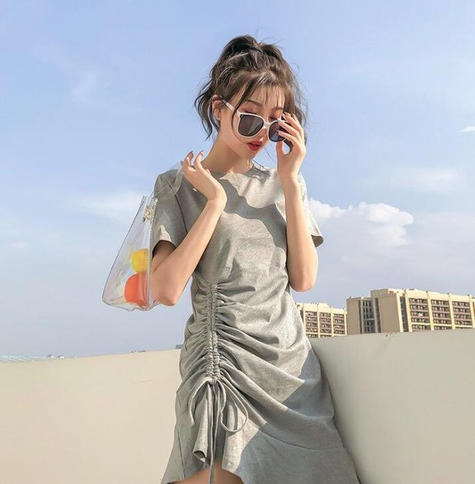 莎芭 洋裝 抽繩連身裙  韓版短袖T恤裙直播間網紅同款裙子