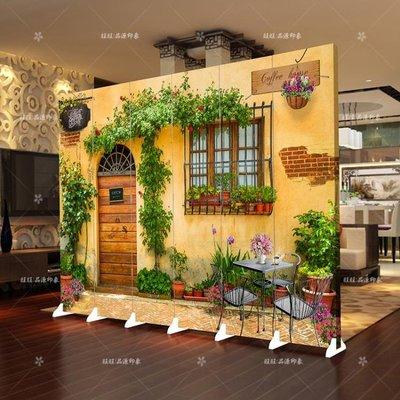 屏風隔斷時尚客廳簡約現代臥室歐式行動折疊簡易實木雙面布藝折屏 xw  快速出貨