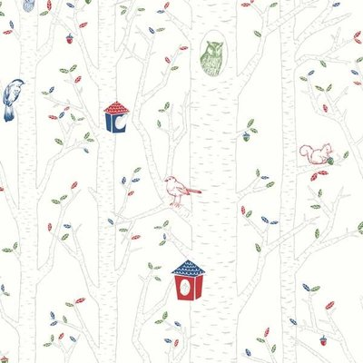 【Uluru】丹麥期貨壁紙.北歐簡約 Birds Hood (2色) 森林 貓頭鷹 小鳥 兒童房 壁紙