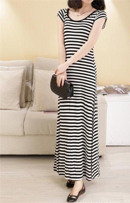 新款莫代爾連身裙短袖條紋顯瘦高腰百搭修身露背夏季長裙女裝