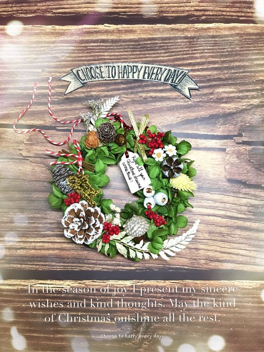 特價!!!永生花-聖誕花圈(有燈)(有包裝 紅色或綠色或黑色)下單記得留言要包裝的顏色 謝謝❤️