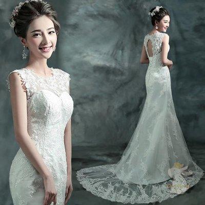 🐇寶貝兔-L9065 韓式婚紗 露背鏤空禮服 魚尾 拖尾長裙 婚禮婚宴 婚紗結婚禮服
