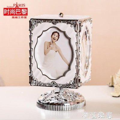 哆啦本鋪 旋轉音樂盒婚紗照相框擺臺5寸創意組合個性照片兒童寫真組合 D655