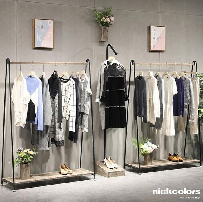 尼克卡樂斯~工業風落地展示衣櫃衣架 衣帽架 鐵製吊衣架 服飾店展示架 ㄇ型吊衣架 北歐極簡風吊衣桿