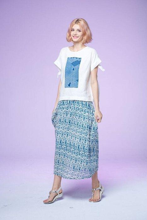 !中國藍Anewei日本古布純棉菱格圓裙/長裙F自我展現如風飛揚