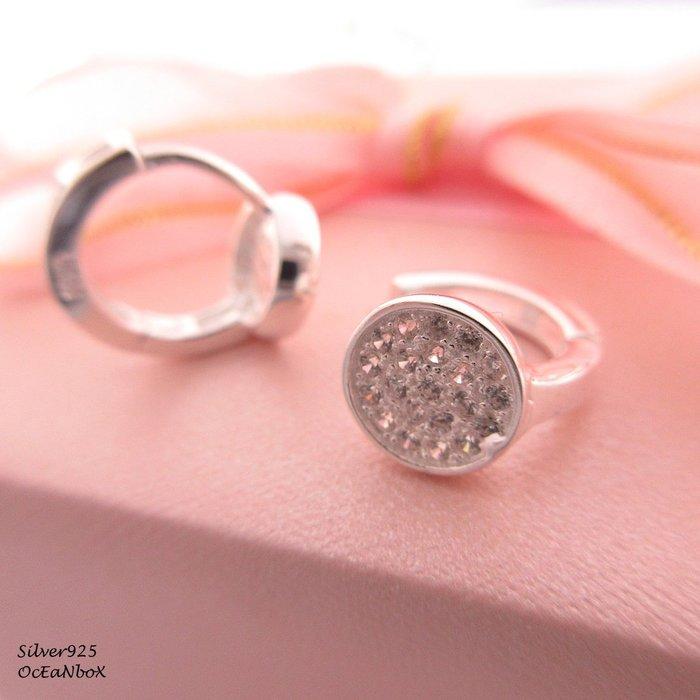 ☆§海洋盒子§☆精緻圓形鋯石.圈圈純銀易扣針式耳環 OB4350(A)《925純銀耳環》