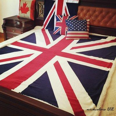 尼克卡樂斯~英國旗美國旗羊毛絨加厚大毯子 床用毯 沙發毯子 車用毯子 雙人棉被 加厚羊毛毯 工業風寢具