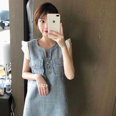 *Angel  Dance*短袖&無袖洋裝(藍色)@韓國 法式 小香風 娃娃領 粗花呢 寬鬆腰@現貨+預購