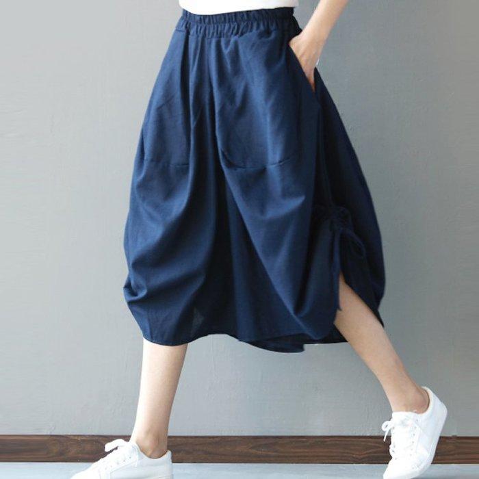 棉麻褲裙燈籠褲闊腿褲七分褲民族風寬鬆褲裙