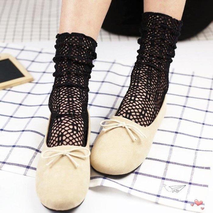 鏤空堆堆襪女夏季薄款中筒日系網眼女婚紗花邊蕾絲松口公主襪子
