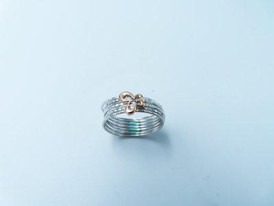 %玉承珠寶%活動式玫瑰金蝴蝶多線造型戒A292(珠寶設計訂做)