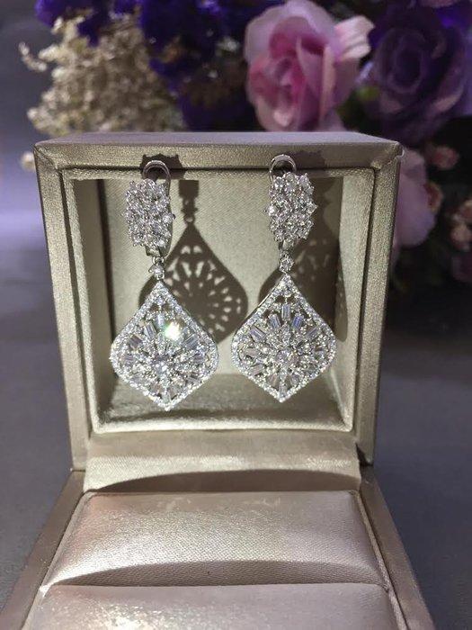 3.98克拉 時尚名媛莫桑鑽石耳環(莫桑石 摩星鑽 非鑽石)