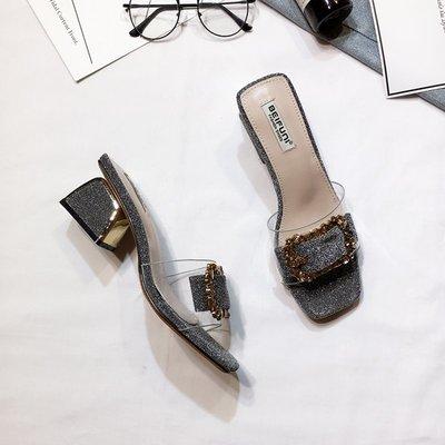 粗跟拖鞋女夏2018夏季新款韓版百搭 性感中跟一字拖 透明方扣拖鞋