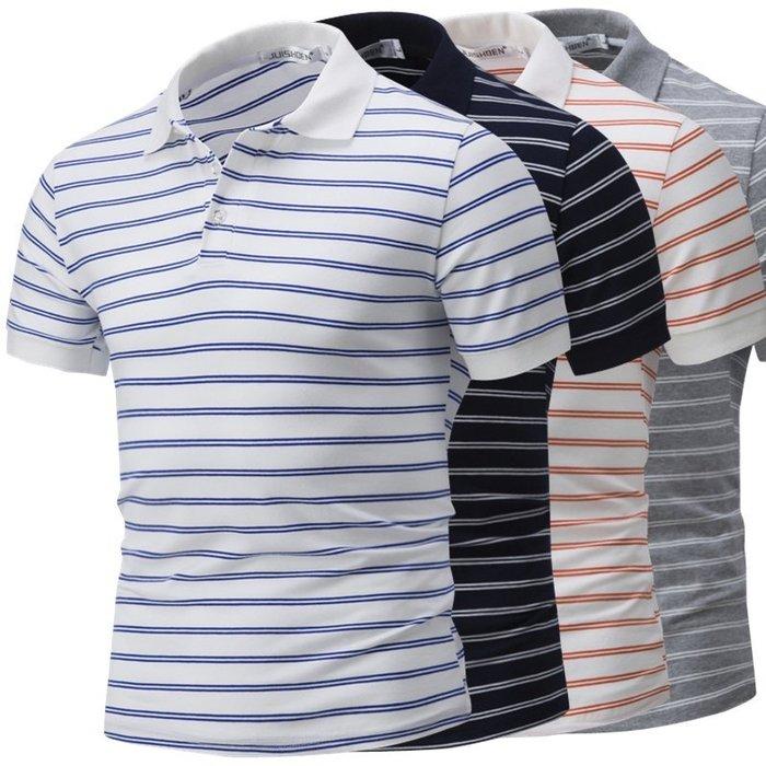 『潮范』  N4 全棉高品質條紋POLO衫 設計短袖POLO衫 橫條圖案POLO衫 大碼POLO衫