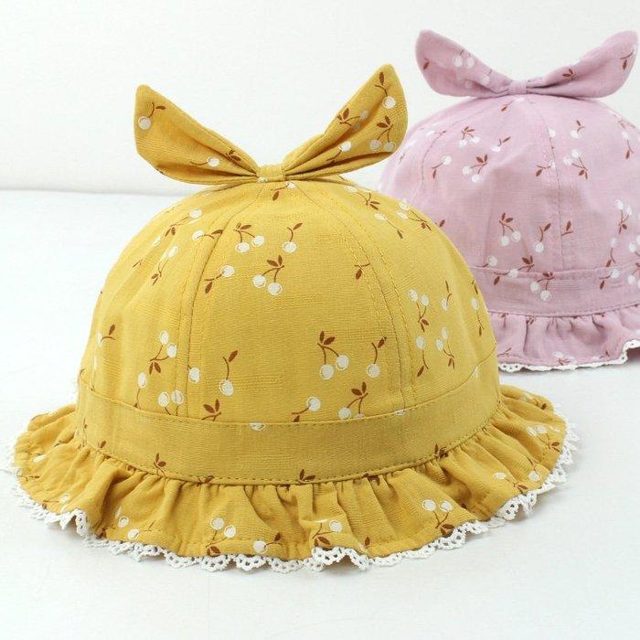 兒童帽 子女春 秋寶寶 漁夫帽 可愛超 萌夏天 薄款遮 陽帽公 主蝴蝶 結盆帽 帽子 防曬帽  兒童帽子 太陽帽 正韓