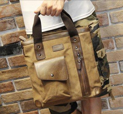 FINDSENSE Z1 韓國 時尚 潮 男 休閒帆布 大容量 口袋款 多功能 手提包 單肩包 側背包 電腦包 公文包