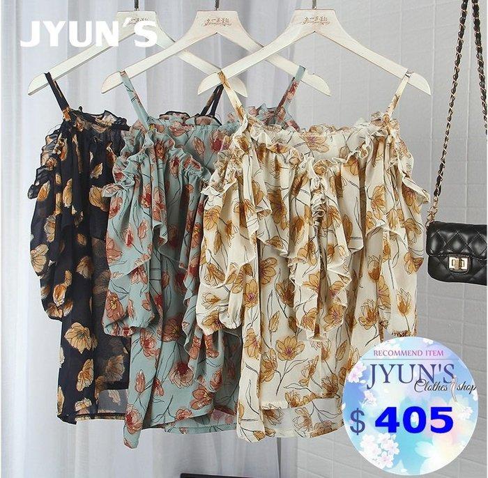 JYUN'S 春夏新款百搭氣質花朵吊帶露肩一字領寬鬆和葉雪紡衫洋氣飄逸碎花上衣 3色 預購