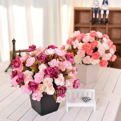 INPHIC-田園地中海陶瓷花瓶愛麗絲小玫瑰組合仿真花套裝桌擺絹花