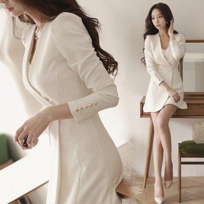 ❤Shinena 千奈公主❤ 100%正韓 香奈兒風公主修身抓皺顯瘦長袖洋裝  西裝外套 空運直送 A046