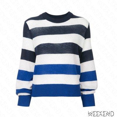 【WEEKEND】 RAG & BONE 寬條紋 針織 撞色 上衣 藍+黑色 18春夏新款