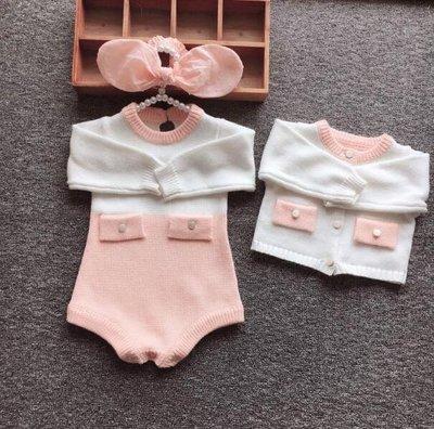 針織外套 嬰兒純棉公主哈衣外套爬服0-2歲百天周歲拍照服裝—莎芭