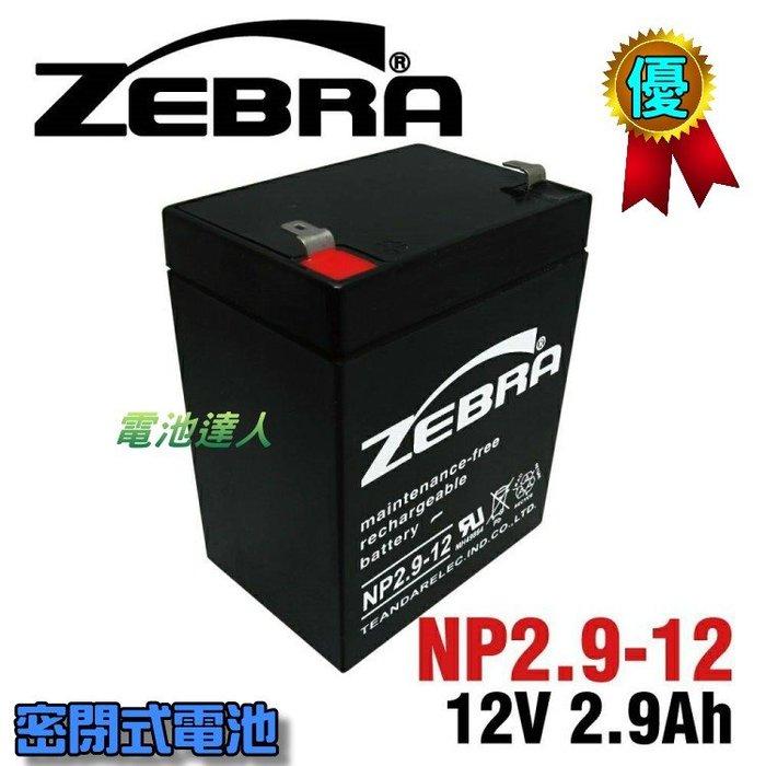 【電池達人】NP2.9-12 12V2.9Ah ZEBRA 斑馬 電池 擴音喇叭 擴音器 擴音機 大聲公 喊話器 揚聲器